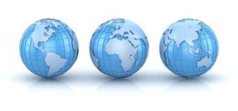 Three blue world map Royalty Free Stock Photography