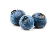 Three blueberries Royalty Free Stock Photos