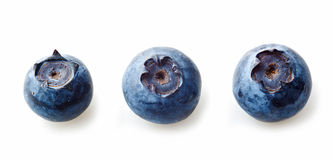 Three blueberries macro Royalty Free Stock Images