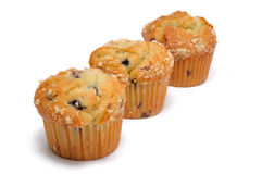 Three Blueberry Muffins Royalty Free Stock Image