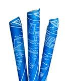 Three Blueprints Royalty Free Stock Photos