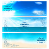 Three blurred summer banners with seashells and starfishes. Royalty Free Stock Photos