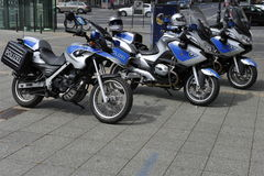 Three BMW Police Motorbikes Royalty Free Stock Photo