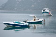 Three boats. Three fishing boats on the sea Royalty Free Stock Photo
