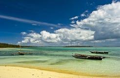 Three boats. Three fishing boats at northern Zanzibar coast Stock Photo