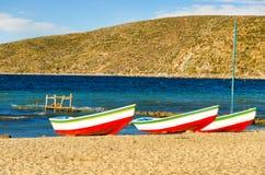 Three Boats in Bolivia Royalty Free Stock Image