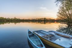Three Boats on Calm Body of Water Royalty Free Stock Photo