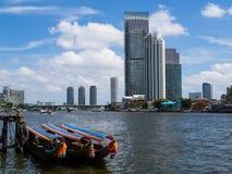 Three boats. Chaophaya river in Bangkok, Thailand Stock Images