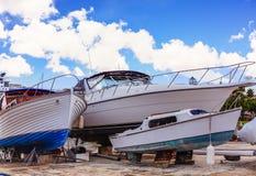 Three Boats in Dry Dock. In Bermuda Stock Photo