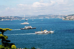 Three boats. Three ferries on the Bosphorus Royalty Free Stock Image