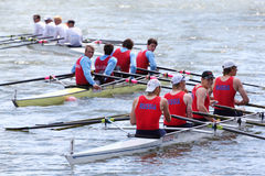 Three boats with four men teams rowing Royalty Free Stock Images