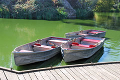 Three Boats on Lake Royalty Free Stock Photography