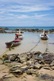 Three boats on a leash Stock Photo