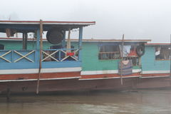 Three Boats on the Mekong River Stock Images
