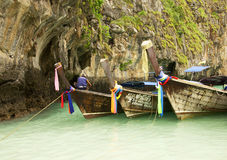 Three boats on Phiphi Ley island Royalty Free Stock Images