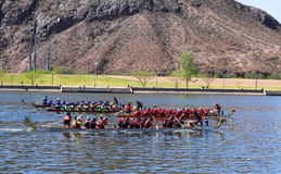 Three Boats Race During The Dragon Boat Festival Stock Images