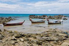 Three boats in the trap Royalty Free Stock Photography