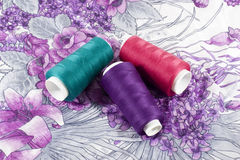Three Bobbins of Threads Royalty Free Stock Photo
