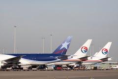 Three boeing cargo planes 777 Stock Photos
