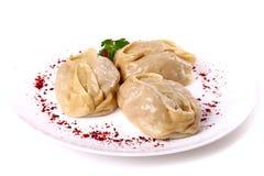 Three boiled manti Royalty Free Stock Image