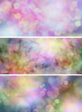 Three Bokeh Website Banners. Three different colorful website banners with bokeh effect Stock Image