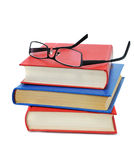 Three book with glasses Stock Photos