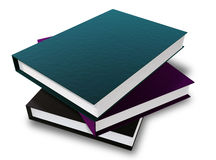 Three Books. A Bundle of three 3D rendered books with different colors placed on a white background Royalty Free Stock Photos