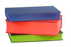 Three Books. Three coloured books - isolated on white background stock photo