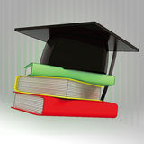 Three books with graduation cap Royalty Free Stock Photography