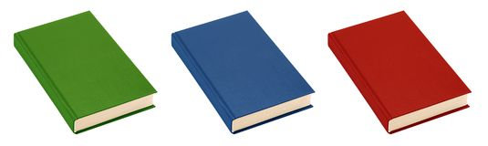 Three books (green, blue, red) (isolated) Stock Image