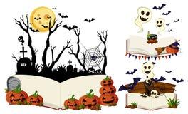 Three books with halloween scenes. Illustration Royalty Free Stock Photos