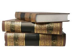 Three books on a white background. Three books lie on a white background Royalty Free Stock Photography