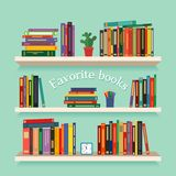 Three bookshelves with favorite books, watches, flowers and pencils. concept of library. vector illustration isolated. On a light background stock illustration