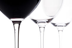 Three bordeaux wine glasses with wine Stock Photography