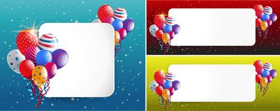 Three border templates with party balloons. Illustration stock illustration