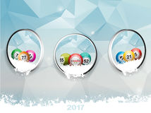 Three borders with Christmas bingo balls over ice and snow Royalty Free Stock Images