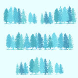 Three borders made of pine trees Royalty Free Stock Images