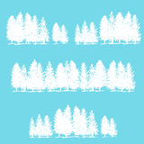 Three borders made of pine trees Royalty Free Stock Photos