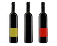 Three bottle of red wine, isolated on white. XXL. Stock Image