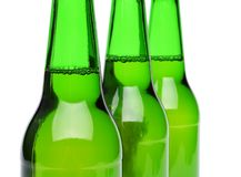 Three bottles of beer close-up Stock Photo