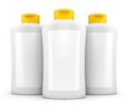 Three bottles of cosmetic stuff isolated on white Stock Images