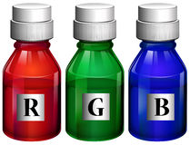Three bottles of ink Stock Image