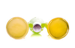 Three bottles of lemonade. On white background Royalty Free Stock Photos