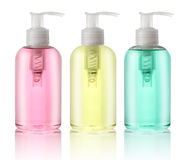 Three bottles of liquid soap. Isolated on white stock photos