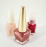 Three bottles of nail polish Royalty Free Stock Photography
