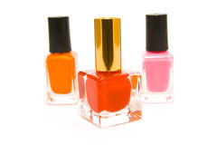 Three Bottles Of Nail Polish Royalty Free Stock Photo