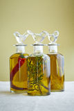 Three bottles of olive oil Royalty Free Stock Images