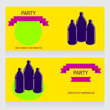 Three bottles. Party Design template with three bottles, vector illustration Stock Photography