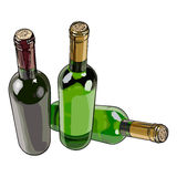 Three bottles with red and white wine Royalty Free Stock Photography