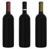 Three bottles red wine Stock Photo